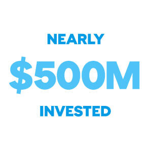 nearly 500 million dollars invested