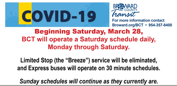 Beginning Saturday, March 28, BCT will operate a Saturday schedule daily, Monday through Saturday. Limited Stop (the Breeze) service will be eliminated, and Express buses will operate on 30 minute schedules. Sunday schedules will continue as they currently are.