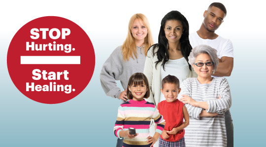 Stop Hurting. Start Healing. Group of ordinary people, young and old.