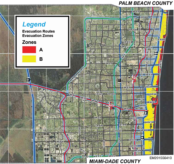 Evacuation Routes and Zones Map