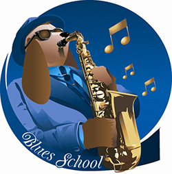 blues school dog playing saxophone