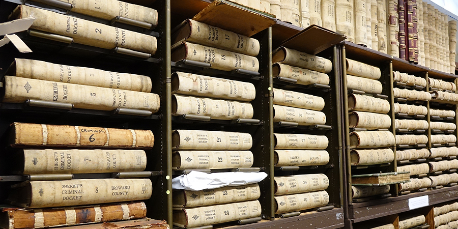 row of historical record books