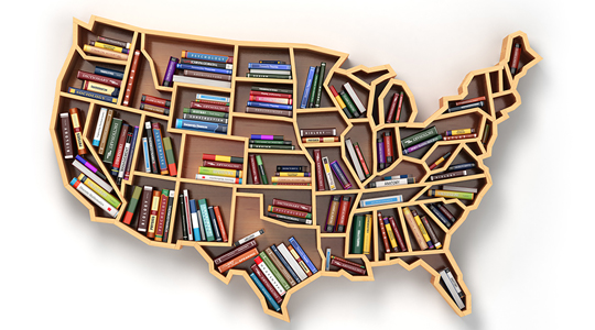 wood map of USA with books insdie