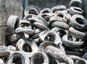 Tires that have been removed from the ocean floor