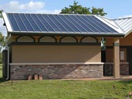 Solar roof installation on park restroom